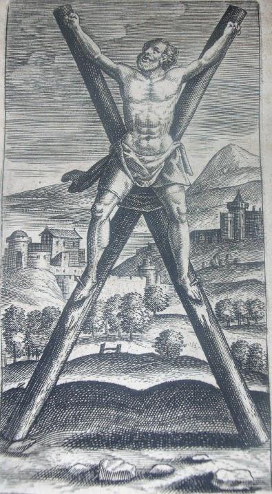 Crucifixion on x-shape cross