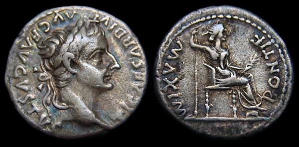 Emperor Tiberius Denarius - silver Tribute Penny