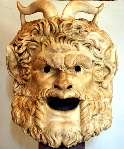 Face mask depicting a Greek pagan idol