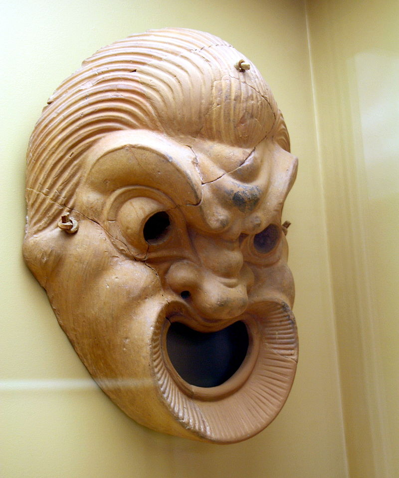 Greek Theatre face mask with a large opening for the mouth.