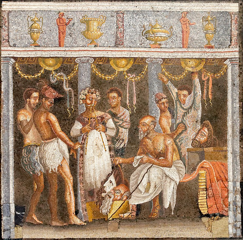 Roman mosaic depicting actors and an aulos player (House of the Tragic Poet, Pompeii).