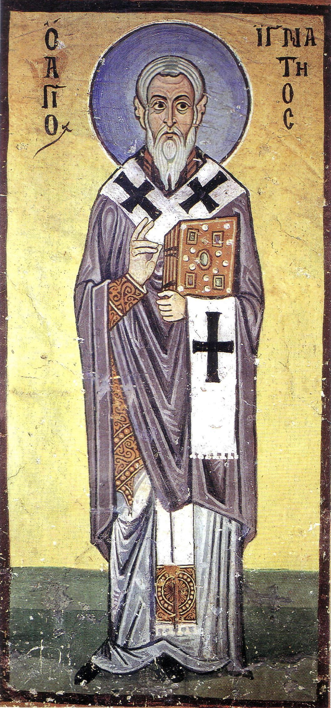 Fresco of St. Ignatius of Antioch from Hosios Loukas Monastery, Boeotia, Greece.