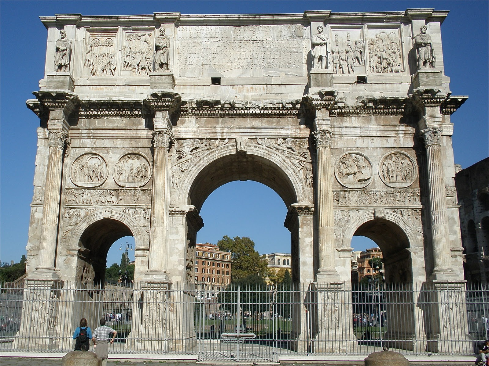 The Arch of Constantine (Arco di Costantino) is a triumphal arch in Rome dedicated to the emperor Constantine the Great. The arch was commissioned by the Roman Senate to commemorate Constantine's victory over Maxentius at the Battle of Milvian Bridge in AD 312.